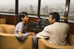men and women talking