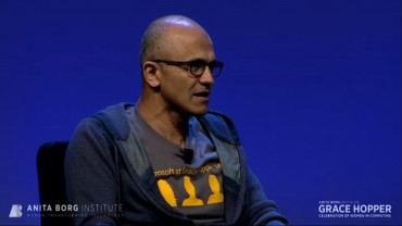 nadella speaks during grace hopper celebration