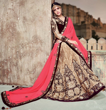 Golden & Pink Color Half Net, Half Velvet & Half Georgette Designer Lehenga Sarees For WeddingPrice-Rs.18450