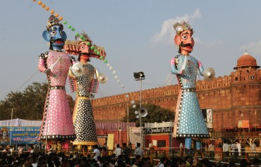 The Ravana, Kumbhakarna and Meghanada effigies before flaming, at the Dussehra celebrations, at Red Fort Ground on the auspicious occasion of Vijay Dashmi, in Delhi on October 17, 2010.