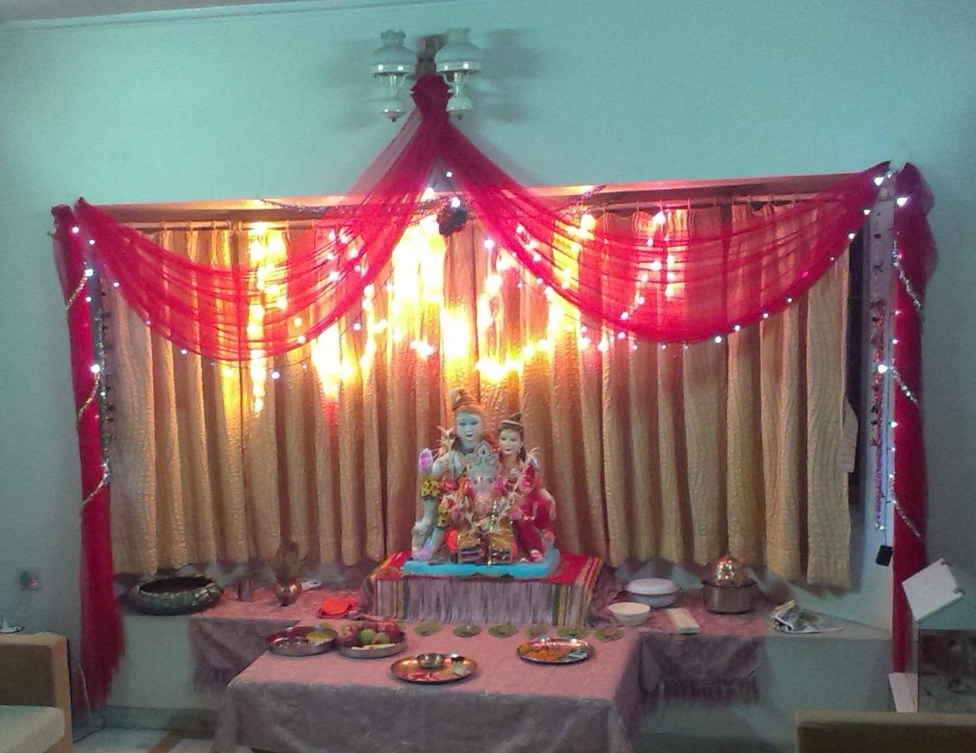 Decorating your home for lord ganesha for Background decoration for ganpati