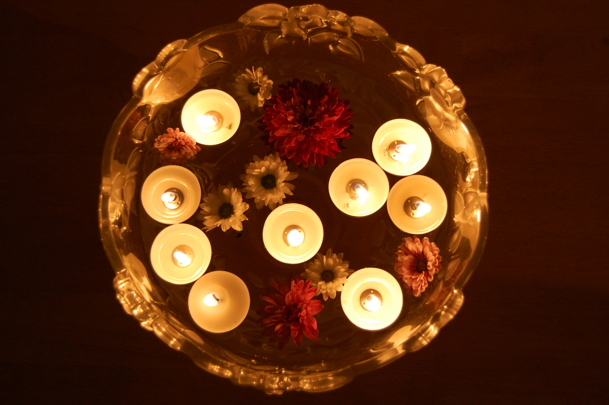 Floating candles on diwali