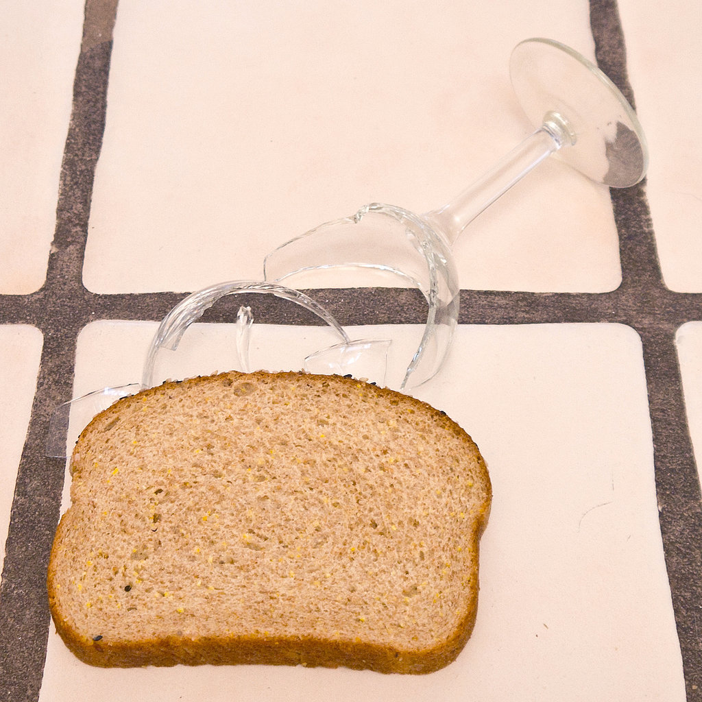 Picking broken glass with bread