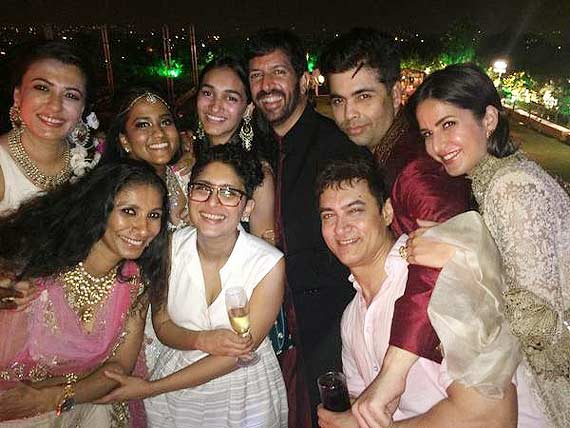 amir, katrina, karan johar at wedding
