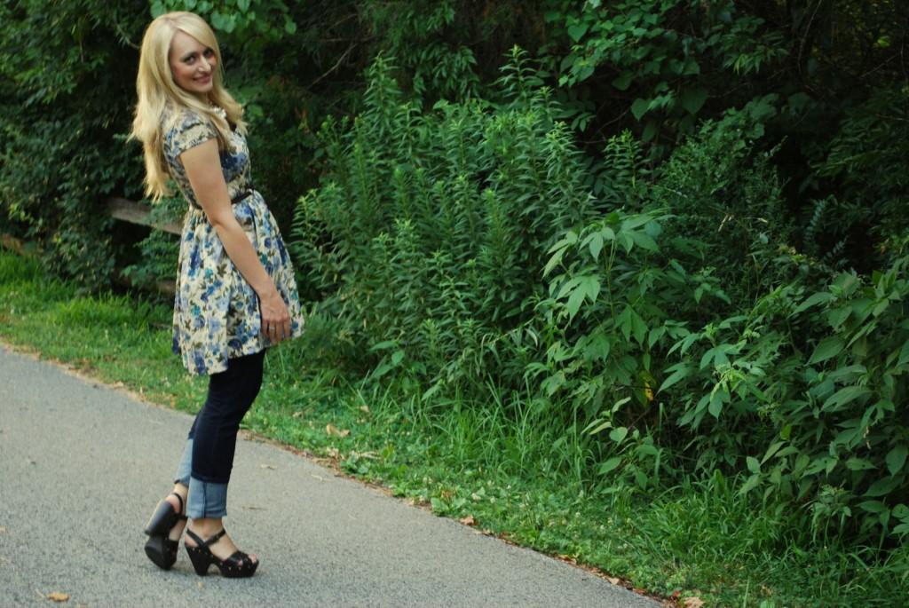 jeans under dress