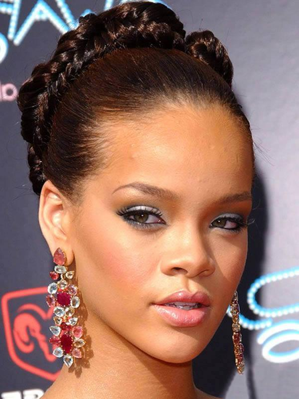 In This Braided Mohawk Hairstyles There Is Plenty Of Volume That Can Be Seen At The Top Rihanna 6