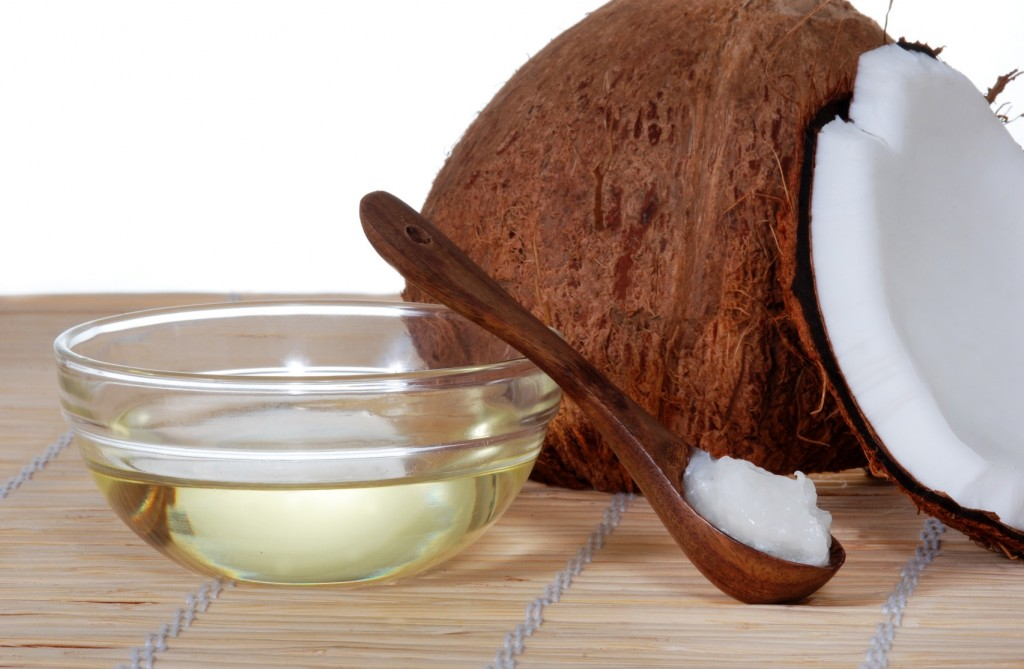 Coconut oil on a bamboo mat