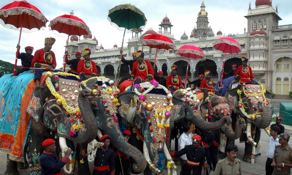 Dasara elephants being welcomed for Mysore dasara festival at Palace in Mysore on Monday.-KPN