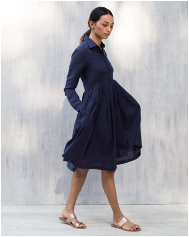 Pleated Shirt Dress – Blue